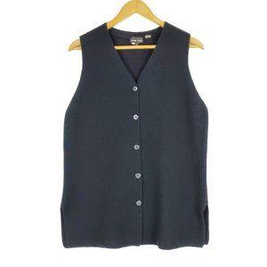 SOLD Jeanne Pierre Black Button Up Sweater Vest